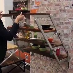 Swing shelf & dining tableWhat do you guys think of this concept? Swing Shelf & Dining Table by Keywords:smartliving, functional furniture, german furniture, smartfurniture, small space solution.