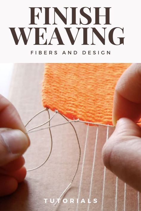 Now that you have finished weaving, its time to remove the weaving off of the loom. Here are a few techniques to finishing the warp ends. Weaving Loom Diy, Weaving Art, Tapestry Weaving, Hand Weaving, Weaving Textiles, Weaving Patterns, Knitting Patterns, Stitch Patterns, Weaving Projects