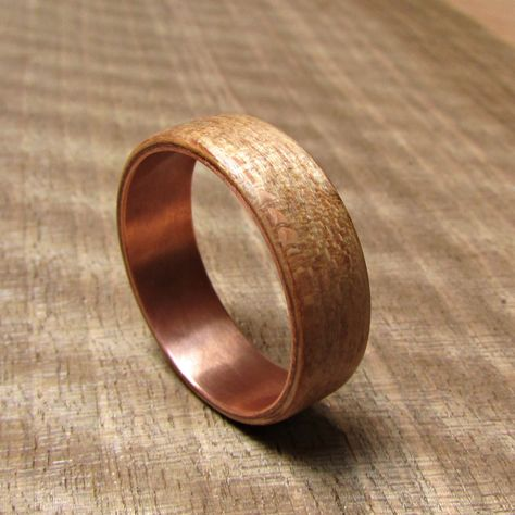 Rustic Beech Wood And Copper Wedding Band Wooden Wedding Rings