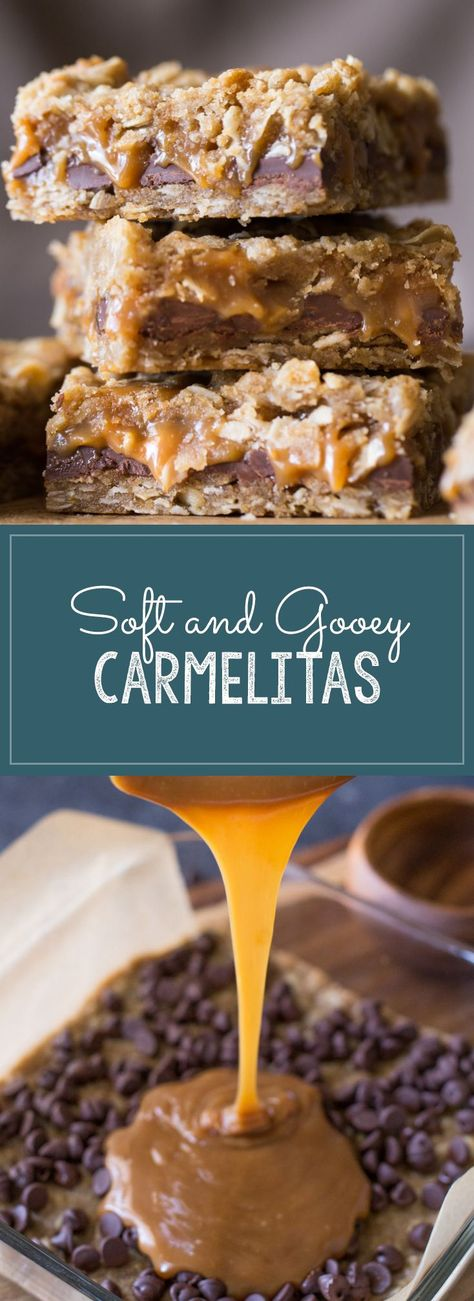Super easy to make and always a crowd pleaser! Soft, gooey and delicious! #carmelitas #caramel #chocolatechips #dessert