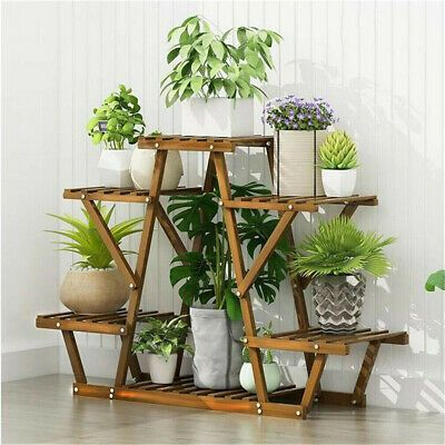 Stable 6 Pots Triangular Structure Pine Wood Plant Stand Shelf Storage Display Organiser Outdoor Indoor Garden Patio Wood Plant Stand Plant Shelves Plant Stand