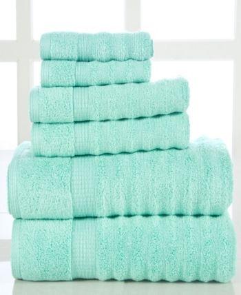 Elegance Spa Quick Dry Cotton Ribbed 6 Piece Towel Set Blue