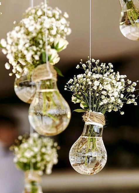 Wedding Decor Idea | Light Bulbs and Baby's Breath | Hanging Decor | Wedding DIY...  #breath #bulbs #decor #hanging #light #wedding