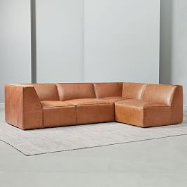 Haven Leather 2 Piece Terminal Chaise Sectional Leather Sectional Leather Sofa Sofa