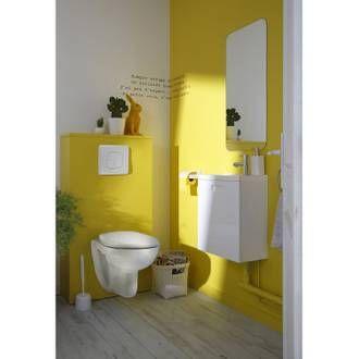 Pack Wc Suspendu Bati Universel Sensea Remix Peinture Toilettes Salle De Bains Jaune Accessoires Salle De Bain
