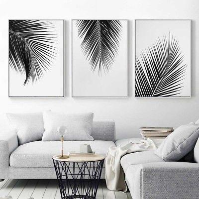 Schwarz Weiss Pflanze Kokosnuss Blatter Leinwand Poster Kunstdruck Wandmalerei Dekorative Wandmalereien Wanddeko Wohnzimmer Wandkunst Wohnzimmer