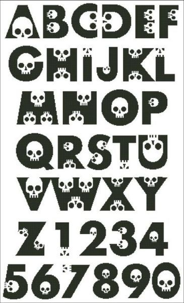 Embroidery Stitches Tutorial Skull Alphabet - PinoyStitch - Counted Cross Stitch Patterns of artist paintings, mini cross stitch, modern cross stitch. Stitcher Accessories and more. Cross Stitch Skull, Cross Stitch Letters, Mini Cross Stitch, Modern Cross Stitch, Counted Cross Stitch Patterns, Cross Stitch Embroidery, Cross Stitch Font, Embroidery Patterns, Hand Embroidery