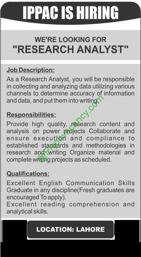 Research Analyst Jobs In IPPAC 29th November 2016 Jobs In Pakistan