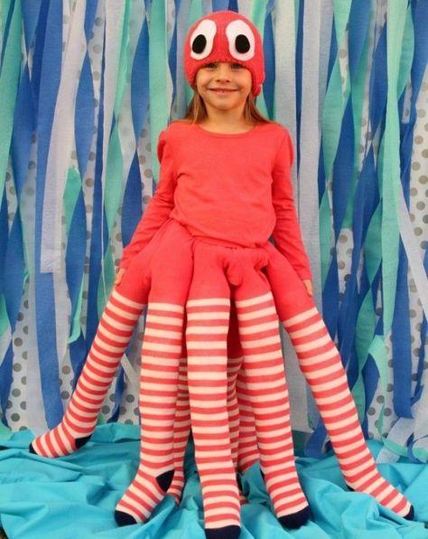 Krake-Kostüm zum Selbermachen-lustige Faschingskostüme für Kinder