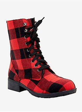 Red Plaid Combat Boots Combat Boots Boots Timberland Boots