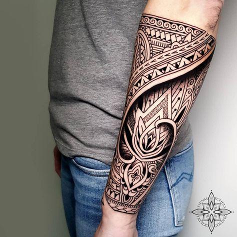 Mosaic Flow lotus forearm tattoo