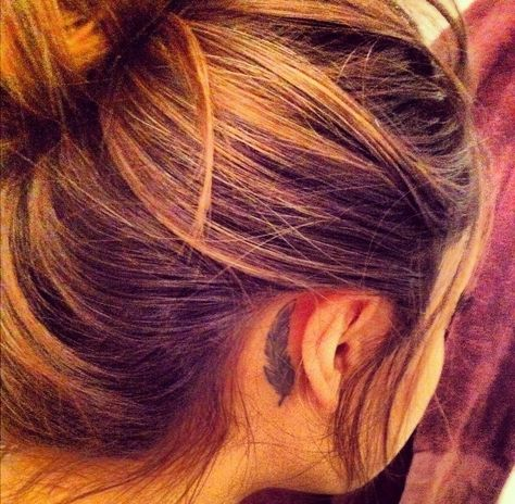 feather behind the ear tattoo perfect<3 except i want it behind my left ear! tattoo appointment is getting closer yayy