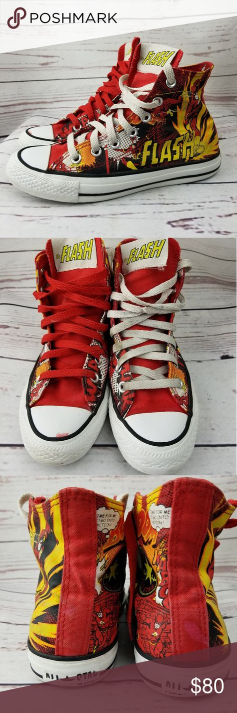 02a046982cfe DC Comics Flash Converse Mens Size 4 Wmn 6 These are great for the DC Comics  fan. Flash Gordon fans too. And Converse fans. Preowned but in great  condition.