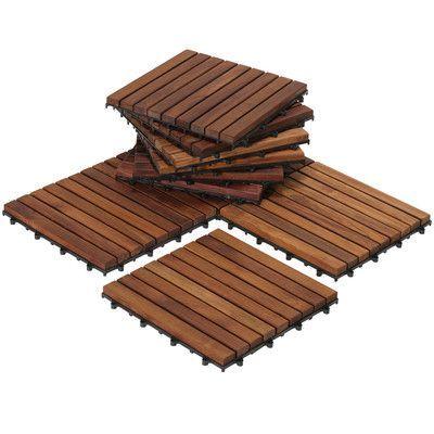 "BareDecor EZ-Floor Interlocking 12"" x 12"" Snap-In Deck Tiles in Oiled"