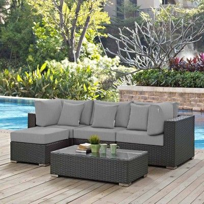 Sojourn 5pc Outdoor Patio Sectional Set With Sunbrella Fabric Gray Modway Outdoor Furniture Nz Modern Patio Furniture Diy Garden Furniture