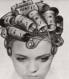 Setting directions for bouffant hairstyles from the mid 1960s!  Brush curlers were not fun to sleep in! lol