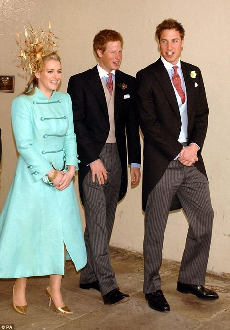 Laura with Princes William and Harry leaving the Guidhall in Windsor after Charles and Cam...