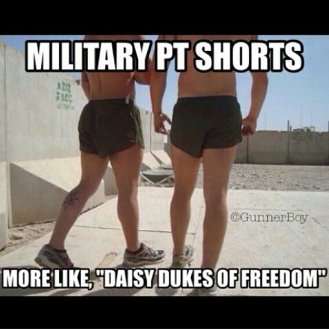 "Military humor. PT shorts haha ""daisy dukes of freedom""... this is good for the Navy, Army, The Marines, Air Force..."