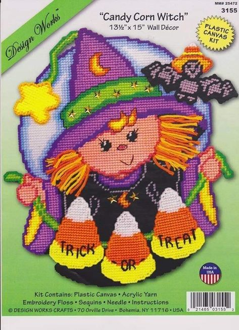 "CANDY CORN WITCH Plastic Canvas Kit  13 1//2/"" x 15/"" Design Works"