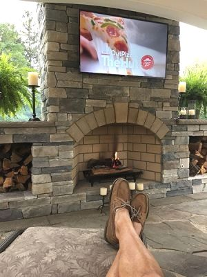 20 Interesting Backyard Designs With Pool And Outdoor Kitchen Outdoor Fireplace Patio Outdoor Fireplace Designs Outdoor Fireplace Pizza Oven