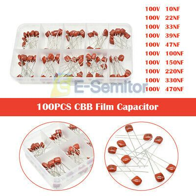 Ad Ebay Url 100pcs 5 Tolerance 100v Cbb Film Capacitor 10 Values 10 470nf Assortment Box Capacitor Ebay Film