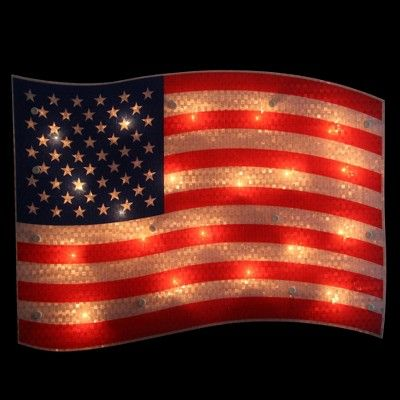 Northlight 17 Lighted Holographic Red White And Blue American Flag Window Silhouette Decoration In 2020 Blue Light Bulb American Flag Decor Barn Tin