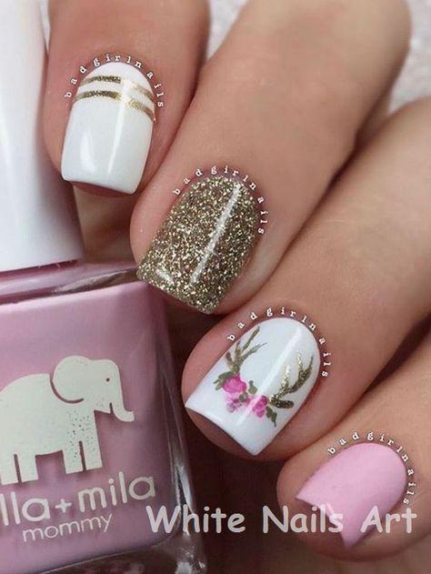 White Nails And Artistic Nail Styles Nailart Shortnails