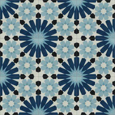 Villa Lagoon Tile Tangier x Cement Field Tile in Blue/Black/Cream