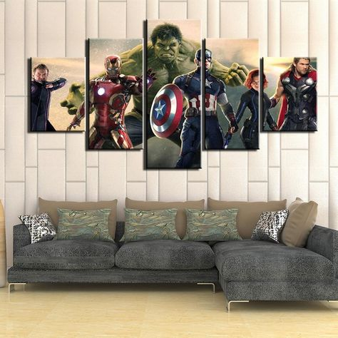 Avengers Superhero Characters Framed 5 Piece Movie Canvas Wall Art Painting Wallpaper Poster Picture Print Photo Decor - Large / With framed