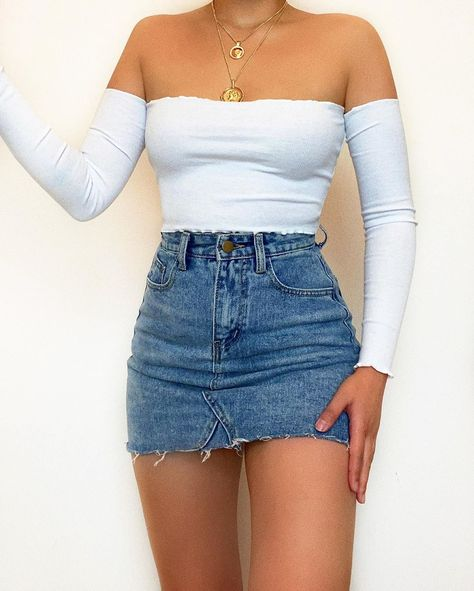 """Kameli Boutique on Instagram: """"GOOD NEWS! - Everyday denim skirts will be back in stock in 5 days 🙌🏽 Email us at info@kameliboutique.com if you'd like us to send you the…"""" Teenage Outfits, Teen Fashion Outfits, Cute Casual Outfits, Girly Outfits, Cute Summer Outfits, Mode Outfits, Look Fashion, Pretty Outfits, Stylish Outfits"""