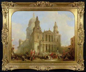 St Pauls Cathedral With The Lord Mayors Procession 1836 Painting By David 1st Art Gallery Painting Art Oil Painting