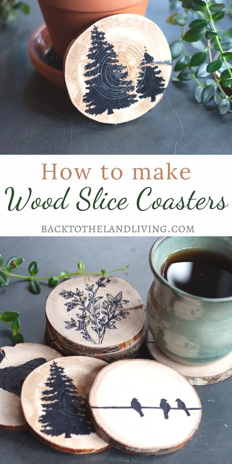 How to make wood slice coasters. These coasters are an quick and easy DIY home decor project that save you money. Here are simple steps to making your own wooden coasters at home! Wood Slice Crafts, Wood Burning Crafts, Wooden Crafts, Wooden Diy, Diy Wood, Diy Craft Projects, Diy Crafts, Simple Wood Projects, Diy Wedding Projects