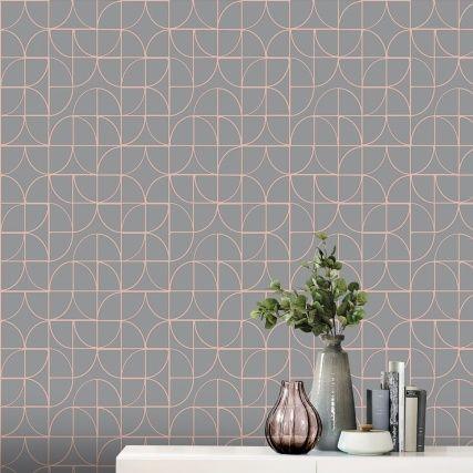 345882 Rasch Retro Geo Charcoal Rose Gold Wallpaper Shop Wallpaper Geo Wallpaper Diy Bathroom Makeover