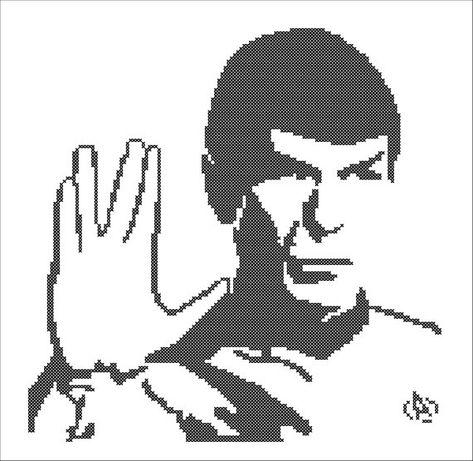 BOGO FREE! Spock Star Trek character Monochrome Cross