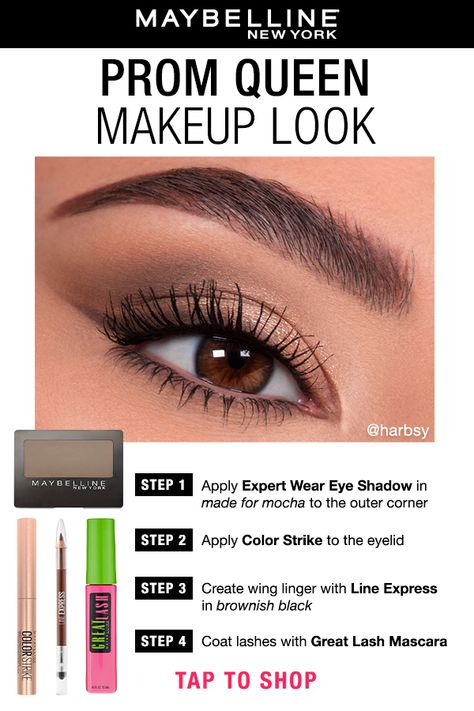 The perfect eye makeup for prom in just four steps! First Apply Expert Wear Eye Shadow in made for mocha to the outer corner. Next, apply Color Strike to the eyelid. Create the wing linger with Line Express in brownish-black. Lastly, coat the lashes with Great Lash Mascara. Tap the pin to shop this look on maybelline.com. #prommakeup