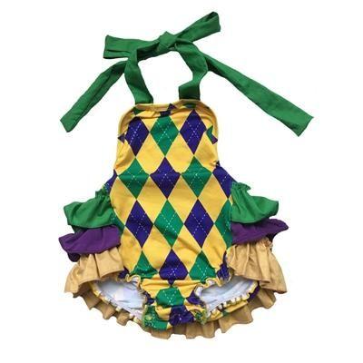 Mardi Gras Purple Green Yellow Knit 18 Mth Baby Infant Short Sleeve Romper