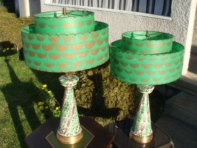 Pair Of Green 1950s Lamps With Original Shades This Is One Style For The License Plate Lamp Shade Mid Century Modern Lamps Vintage Table Lamp Mid Century Lamp