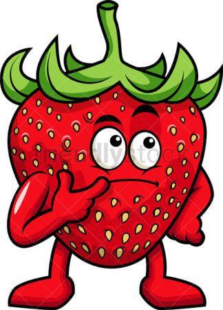 Strawberry Mascot Having An Idea Cartoon Vector Clipart Friendlystock Cute Cartoon Images Fruit Cartoon Strawberry Drawing