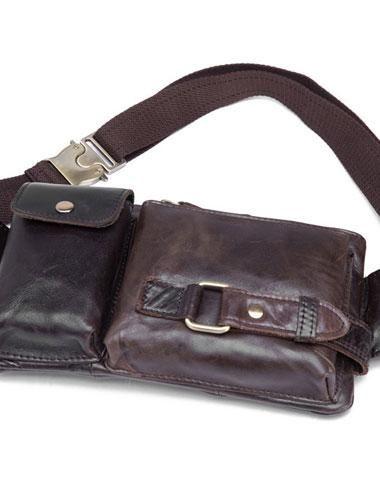 Men Genuine Leather Waist Bag Fanny Bum Shoulder Chest Bags Outdoor Pack