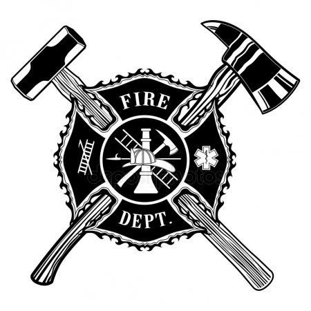 Firefighter Cross Ax And Sledge Hammer Stock Vector Aff Ax