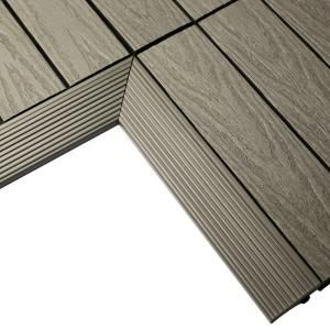 Newtechwood 1 6 Ft X 1 Ft Quick Deck Composite Deck Tile Inside Corner In Egyptian Stone Gray 2 Pieces Box Us Qd If Zx St The Home Depot In 2020 Composite Decking Deck Tile Best Decking Material