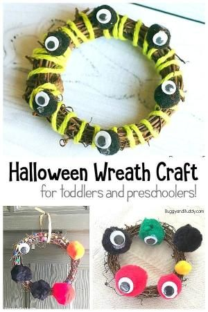 Easy Halloween Craft For Toddlers And Preschool Make A Wreath With Yarn Pom Poms And Googly Eyes Hall With Images Toddler Crafts Easy Halloween Crafts Halloween Crafts