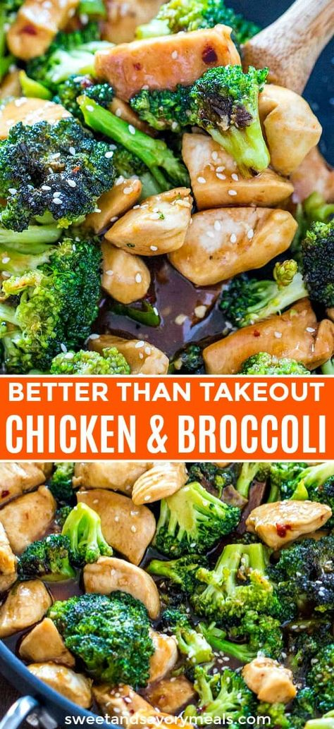 Chicken and Broccoli has all the flavors of Chinese take-out, made in your own kitchen. This easy, one pan Asian dinner is made in less than 30 minutes. #asianrecipe #chineserecipe #chinesefood #easyrecipe #30minutemeal #sweetandsavorymeals #onepan #chicken