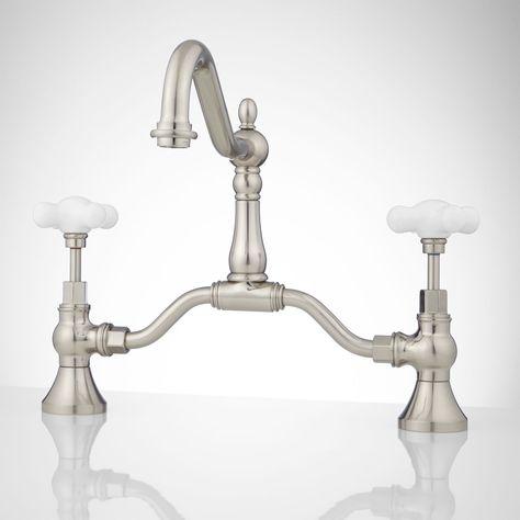 Elnora Bridge Bathroom Faucet Large Porcelain Cross Handles