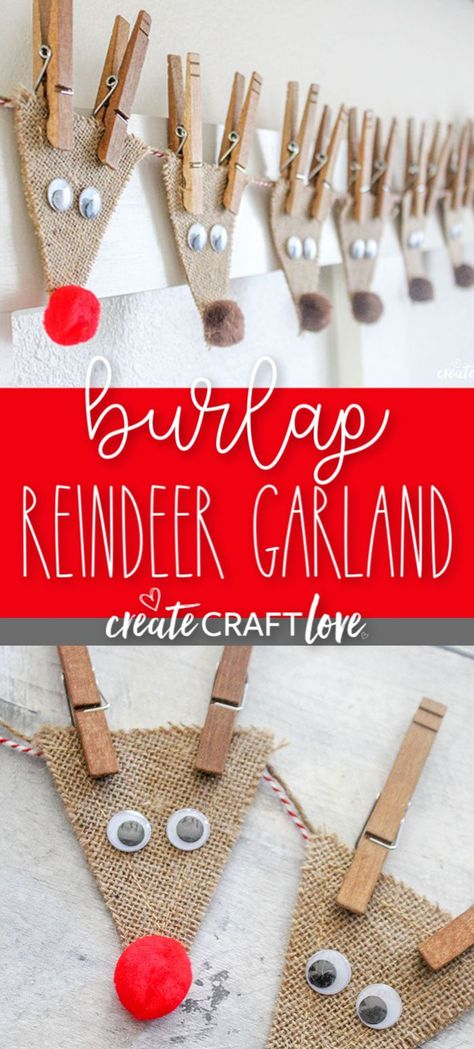 This Burlap Reindeer Garland, featuring Rudolf and the whole gang, will look adorable in your house this holiday season! This Burlap Reindeer Garland, featuring Rudolf and the whole gang, will look adorable in your house this holiday season! Diy Christmas Ornaments, Xmas Crafts, Homemade Christmas, Christmas Projects, Christmas Gifts, Decor Crafts, Diy Christmas Decorations, Reindeer Decorations, Holiday Decorating