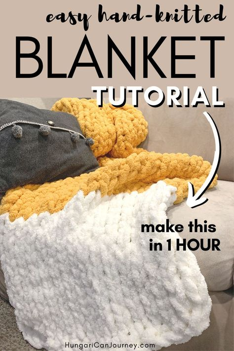 Easiest hand knitted blanket DIY for beginners - A chunky hand-knitted blanket that you can knit up in under an hour. There are no complicated stitches and this hand knitting DIY project is perfect for a beginner too. Chenille Blanket, Hand Knit Blanket, Chunky Blanket, Knitted Baby Blankets, Arm Knitting Blankets, Cute Diy Blankets, Chunky Crochet Blankets, Beginner Knitting Blanket, Chunky Knits