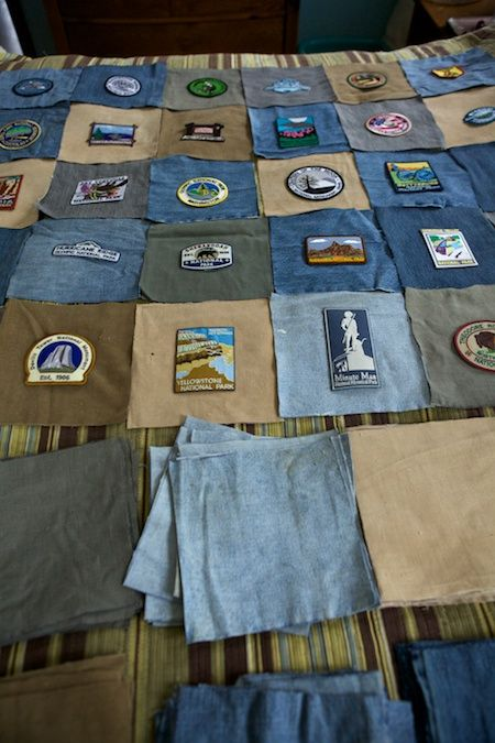great idea for a quilt, repurposing clothing, and using collectible patches all in one!