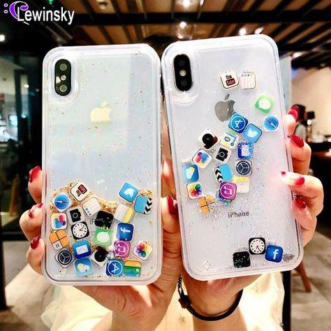 Quicksand Capinha Case For iPhone 7 7Plus 8 8Plus 6 6s Plus Dynamic Liquid Hard PC Case For iPhone 7 X XR XS Max App Capa ipone