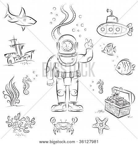 Deep Sea Diver Coloring Page
