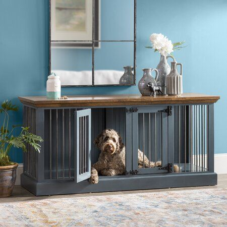 Damien Double Wide Small Credenza Pet Crate In 2020 Pet Crate Dog Crate Furniture Crate Furniture